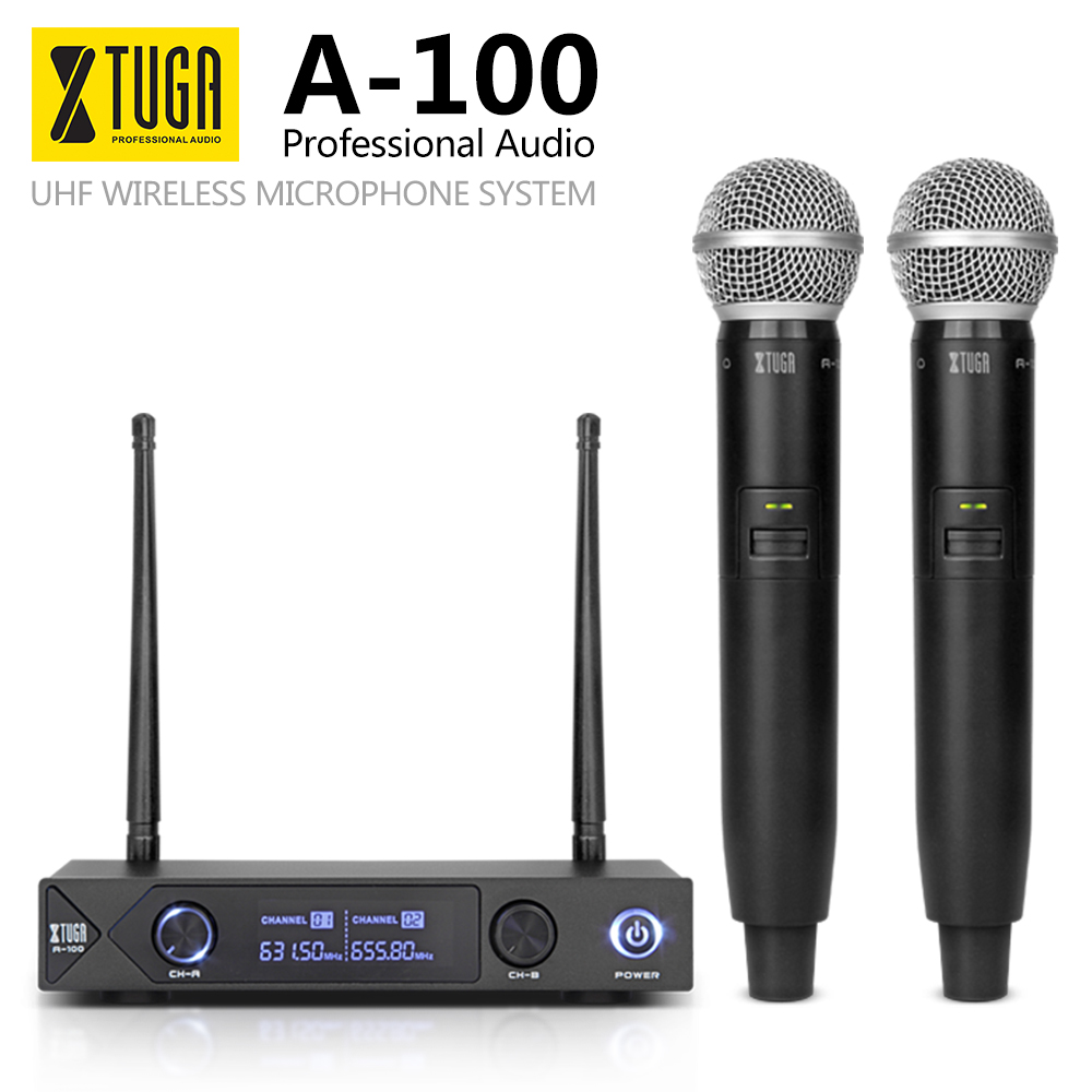 XTUGA Audio Xiao Mi Phone Professional UHF A-100 2 Channel Cordless Microphone System UHF Wireless Karaoke Party Bar Quality