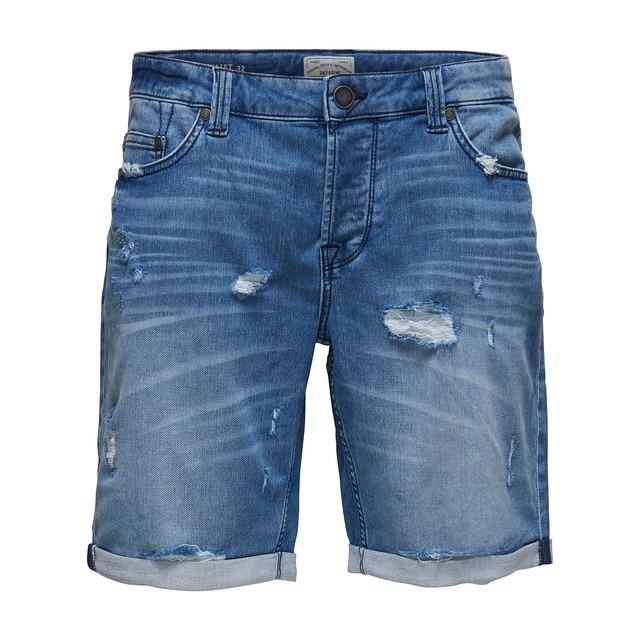 54a17b400c ONLY SONS Pantalon vaquero corto corte 5 bolsillos hombre con bajo vuelto y  detalles rotos