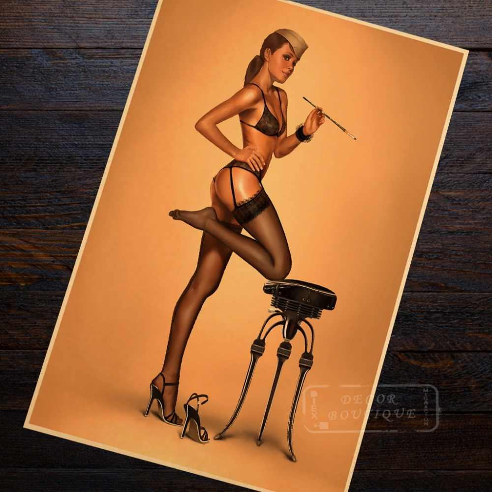 pop art stocking vintage pin up girl poster classic retro kraft canvas maps wall sticker home