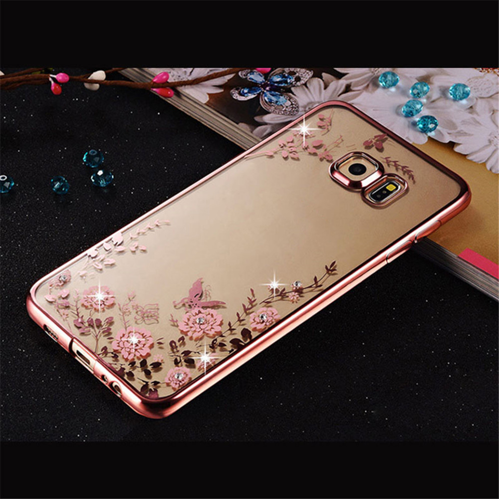 Plating Cover Soft TPU Flower Flora Phone Case For Samsung Galaxy S3 SS4 S5 S6 S7