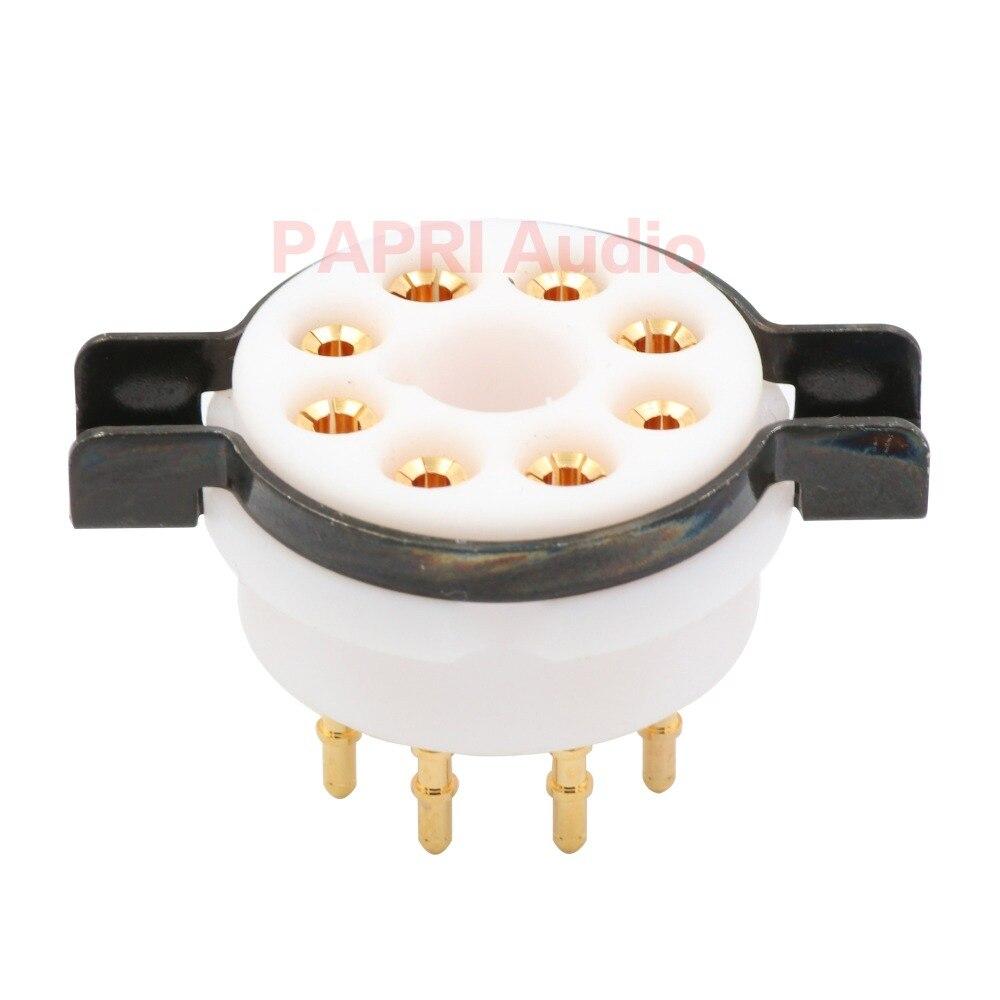10PCS CMC Teflon 8Pin Tube Socket K8A Gold Plated Brass Feet Vacuum Tube Audio DIY For
