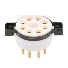 цена на 10PCS CMC Teflon 8Pin tube socket K8A Gold plated Brass feet Vacuum Tube Audio DIY For KT88 KT66 EL34 6V6 6L6 274B CV81