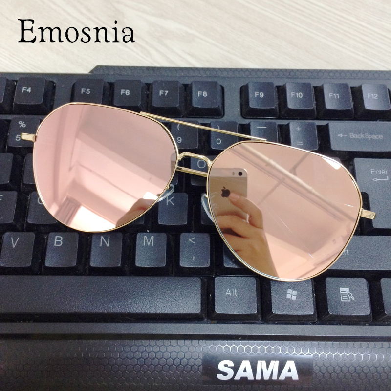 Emosnia Mirror Pilot Goggle Sunglasses Women Men New Vintage Top Brand Design Metal Frame Sun Glasses Female Oculos 2018