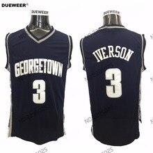 b23ec0bc0280 DUEWEER Mens Georgetown Hoyas Allen Iverson College Basketball Jersey Navy  Blue 3 Allen Iverson University Stitched