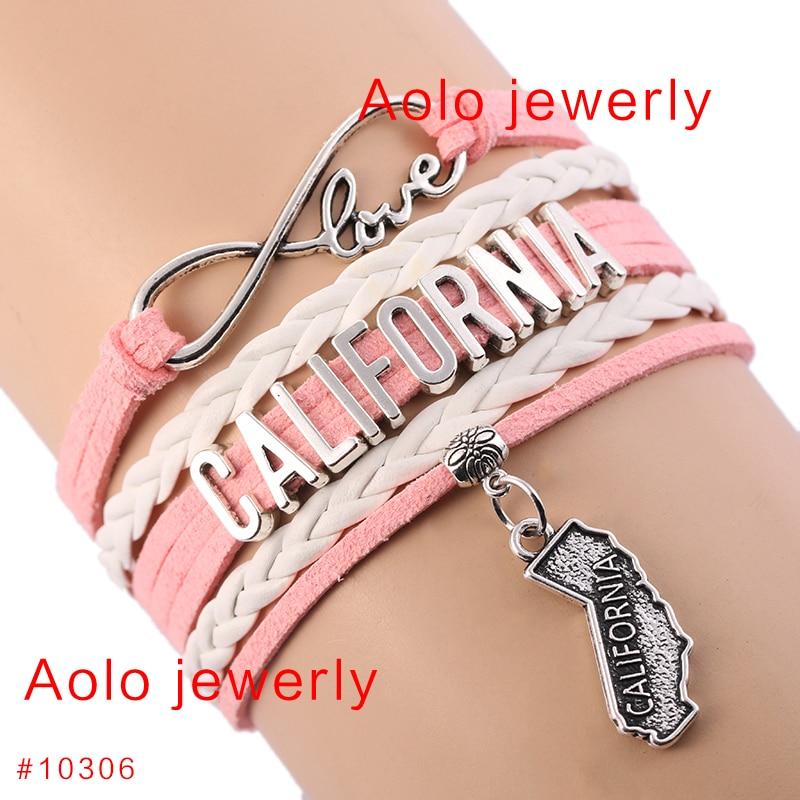 6pcs Lot California State Geography Infinity Charm Bracelet Choose
