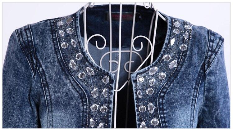 FMFSSOM 2019 New Arrival Spring Antumn Denim Jackets Vintage Diamonds Casual Coat Women's Denim Jacket For Outerwear Jeans