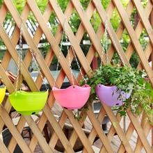 2016 Flower Hanging Basket Flowerpot Rattan Decorative Pots Wall Iron Garden Planter Hotel Home Garden Decor S4710