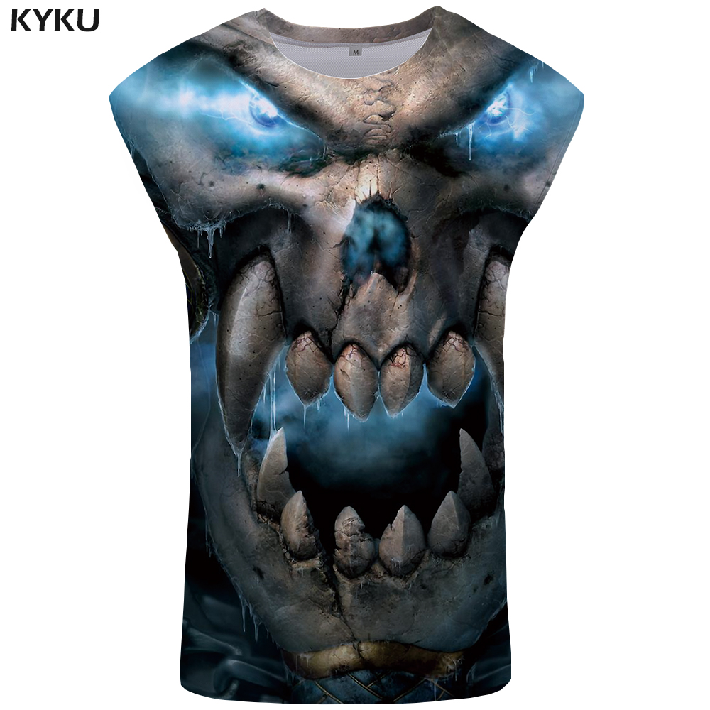 KYKU Brand Skull   Tank     Top   Men Devil Undershirt Hip Hop Singlet Anime Ftness Clothing Mens Bodybuilding Stringer
