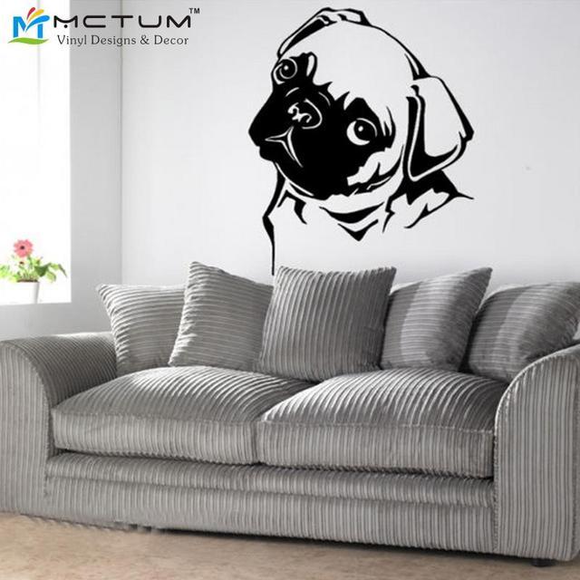 f46ba099d6d2d Carlin chien mur ART autocollant Mural géant grand décalcomanie vinyle pour  la décoration de la maison