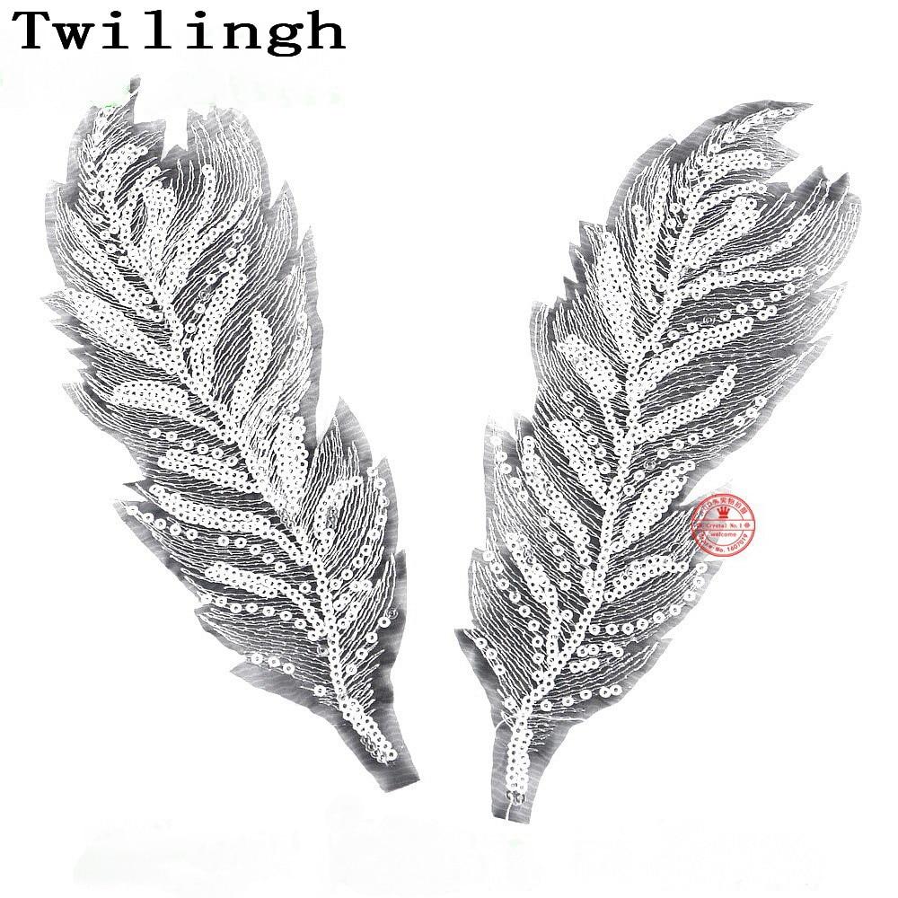 1 Pair = 2 Pieces Feather Patches Sew-on Gold Sliver Wing Sequine Patch Flower Motif 3D Applique DIY Dress Clothes Wedding Patch