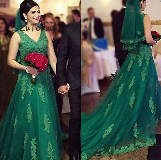 Emerald Arabic Evening Dress A Line Sleeveless Appliques Beaded Long Special Occasion Dresses Evening Wear Reception Prom Gowns