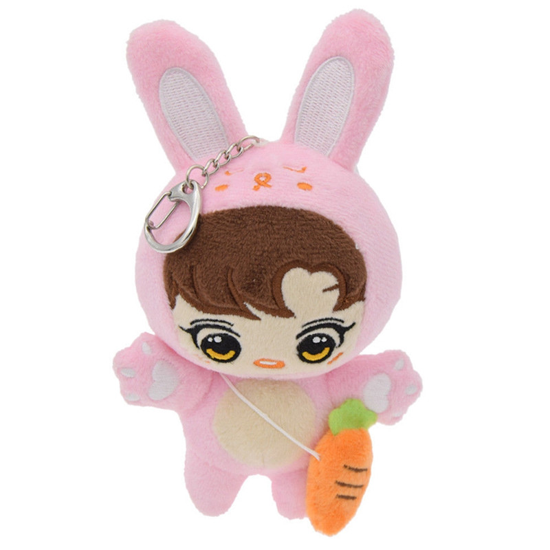 Pink Jewelry Kpop Bangtan Boys Youth Plush Keychain Cartoon Dolls Kids Toys Key Buckle Girl Bag Key Chain Hoop Gift