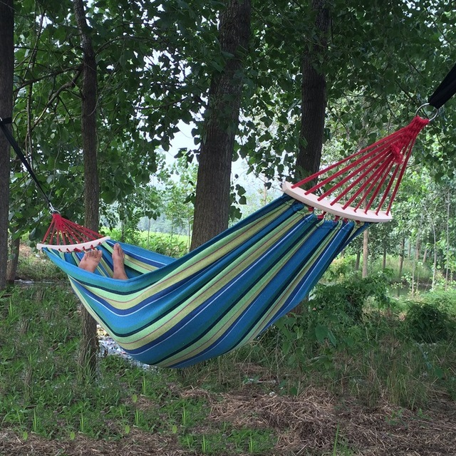 Canvas Double Spreader Bar Hammock Outdoor Camping Swing Hanging Bed Blue Free Shipping