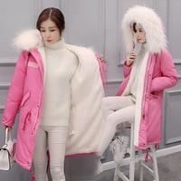 Winter New Mujer Long Loose Thick Big Fake Fur Collar Down Warm Jacket Women Parkas Solid