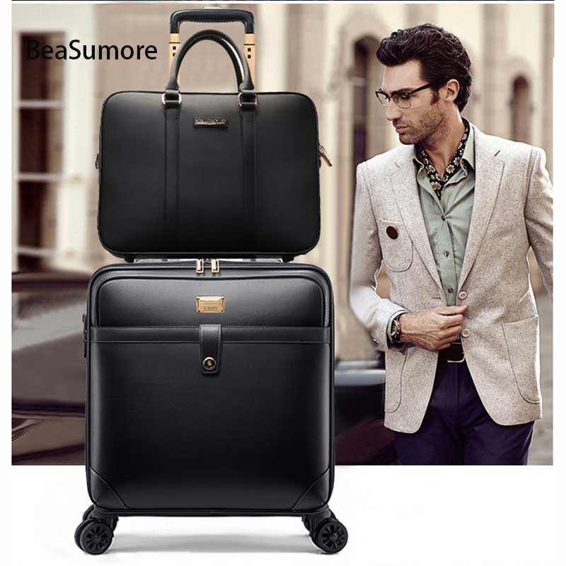 BeaSumore Retro PU Leather Rolling Luggage Sets Spinner Women Wheel Suitcases Travel bag Men Business 16