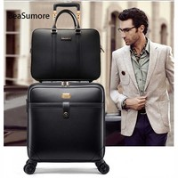 BeaSumore Retro PU Leather Rolling Luggage Sets Spinner Women Wheel Suitcases Travel bag Men Business 16 inch Carry On Trolley