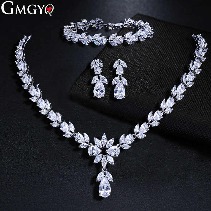 GMGYQ Fashion Crystal Zirconia Earrings Chain bracelets 3 st Jewelry Set For Women Wedding dresses Accessories
