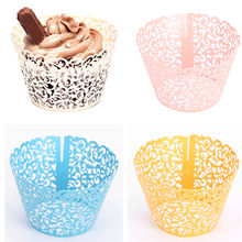 12Pcs Hot Sanwony Little Vine Lace Laser Cut Cupcake Wrapper Liner Baking Cup Hollow Paper Cake Cup DIY Baking Fondant Cupcake(China)