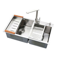 SUS304 Steel Square Double Bowl Kitchen Sink X26030