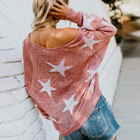 Sexy Off Shoulder Knitted Sweater Woman Autumn Streetwear Casual Loose V Neck Stars Long Sleeve Print Pullover Large Size Tops