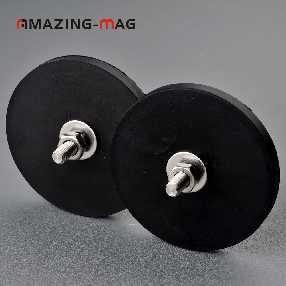 2PC 42KG Powerful Neodymium Magnet Disc Rubber Costed D88*8.5mm M8 Thread Surface Protecting LED Light Camera Car Mount Magnet