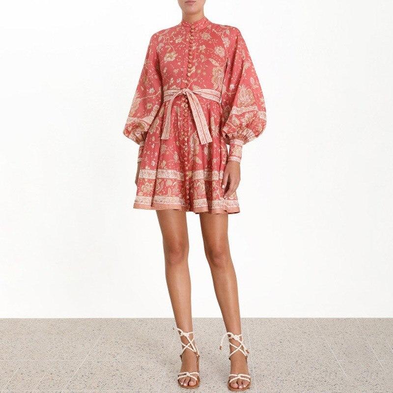 Mode 2019 femmes Vintage imprimé robe col montant lanterne manches Mini robe d'été taille haute à lacets robes de plage