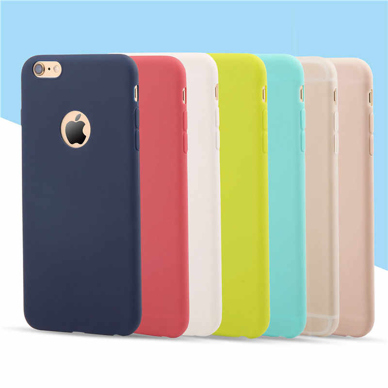 Fashion Cute Candy Colors Soft TPU Silicon Phone Cases For iPhone 6 6s 5 5s SE 7 7 Plus Coque Capa with window