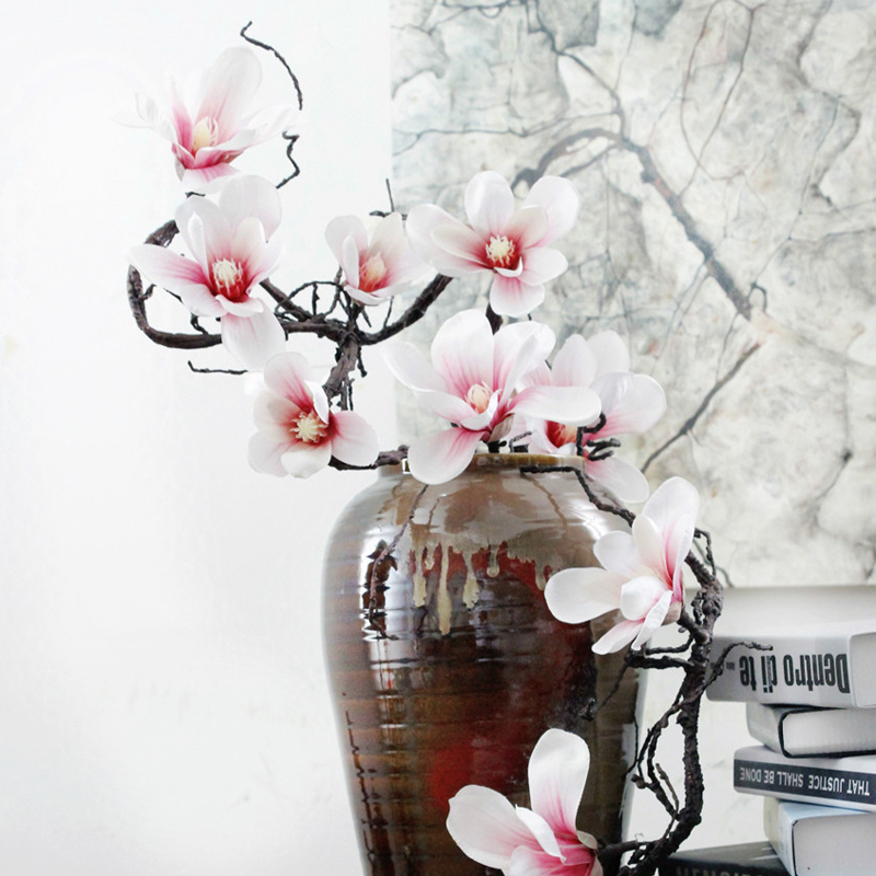 orchid artificial magnolia Silk Flowers vine wreath Garland Artificial Flores wall flower Wedding decoration flower Home Decor