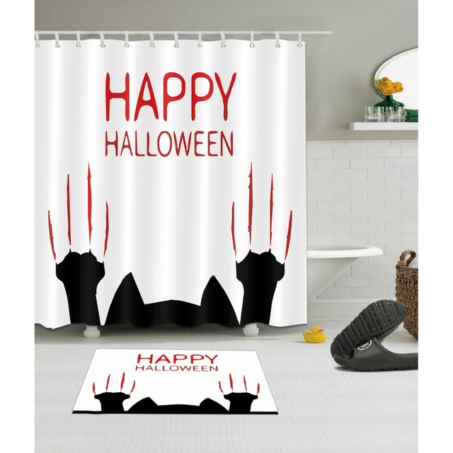 LB 72 Happy Halloween Black Cat White Shower Curtains And Mat Set Washable Polyester