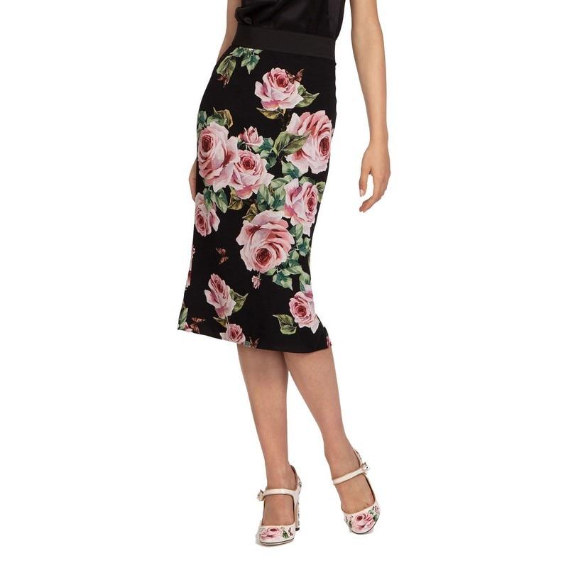 Rose Personalizado Tamaño Cintura longitud Floral Mujeres Las Recto De Faldas Impresión Falda Primavera Elegante Negro Elástico Rodilla Nuevas Más Señoras RqqXTwS1