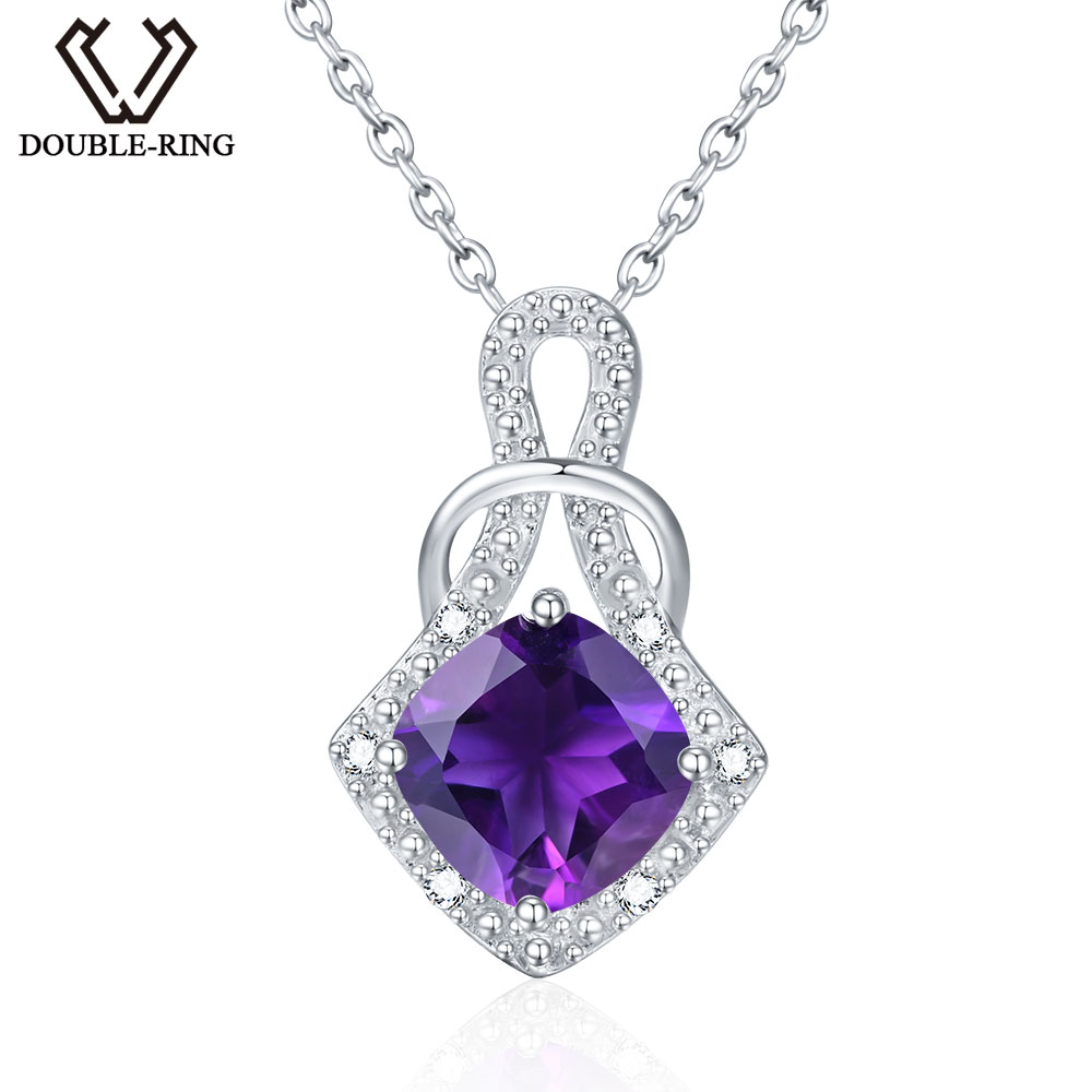 DOUBLE-R 2.05ct Natural Amethyst Pendant Classic Necklace Fine Jewelry Real 925 Sterling Silver Necklaces & Pendants for women цена и фото