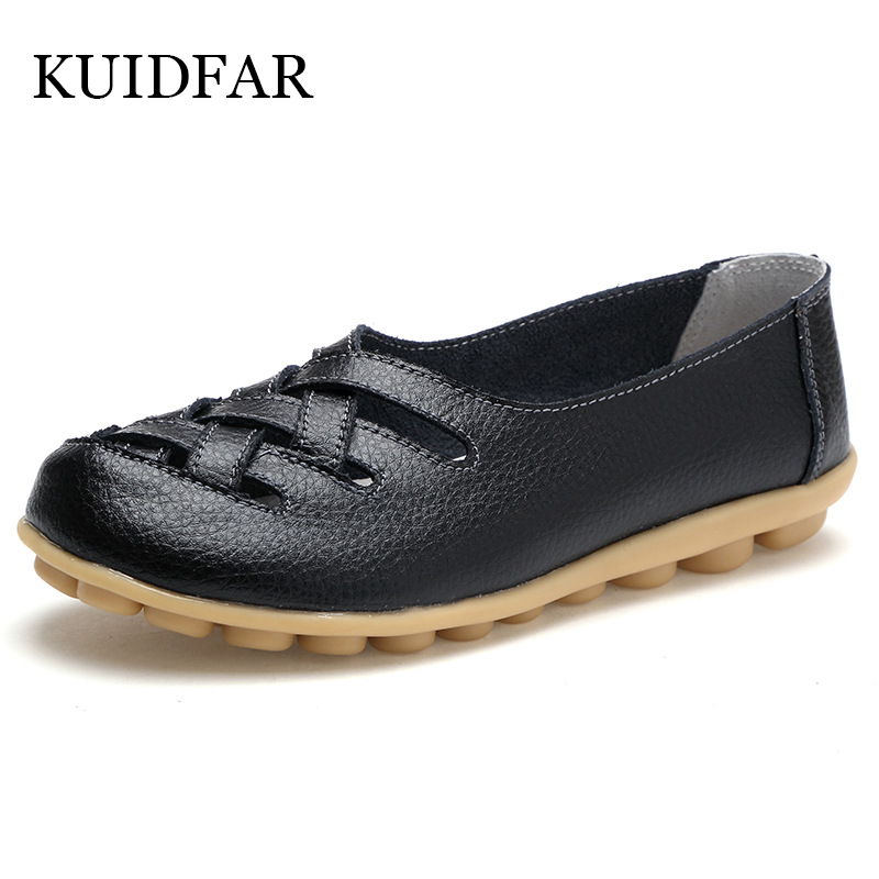 KUIDFAR Genuine Leather Summer Women Flats Shoes 2019 Casual Flat Shoes Women Loafers Shoes Leather Red Flat Women's Shoes