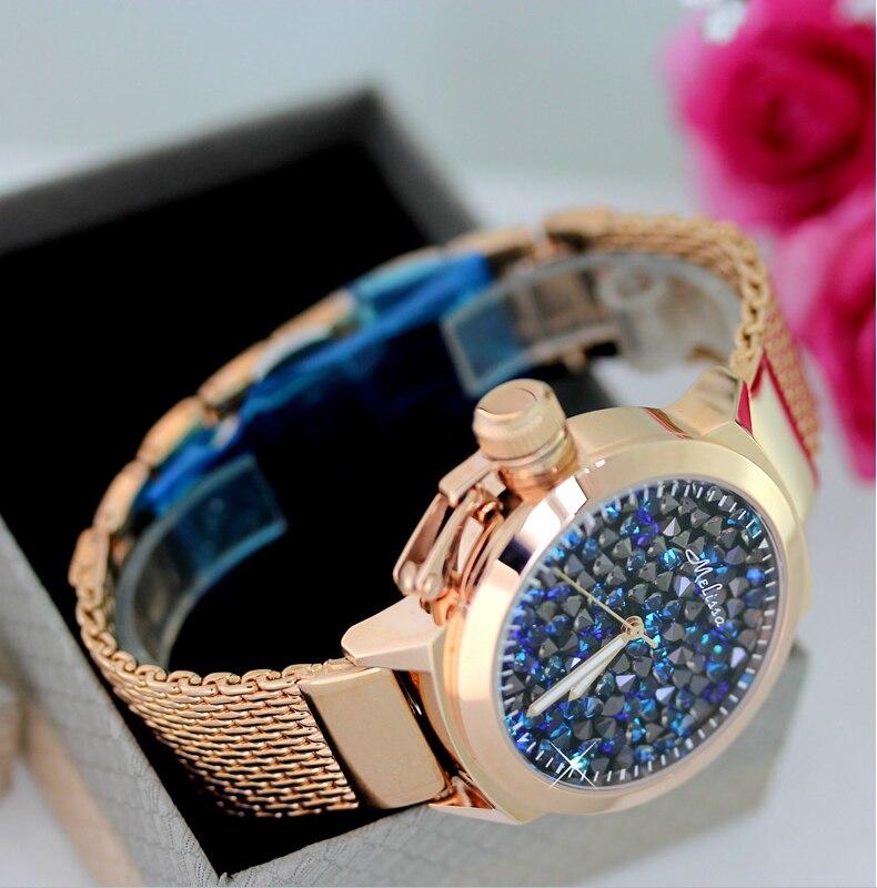 Cristais Completos Relógios Das Mulheres Grande Pulseira
