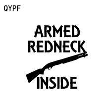 Qypf 13.1 cm * 13.5 cm armado redneck dentro do carro de vinil engraçado-estilo do carro adesivo decalque preto prata C15-2600