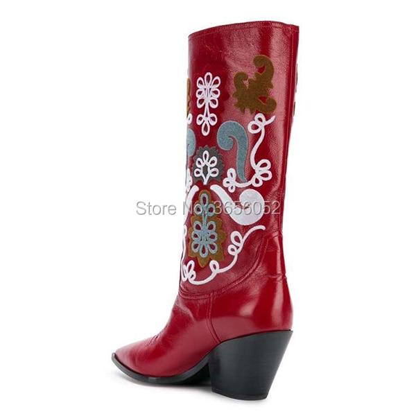 as Bout Mélangées As Brodé Noir Femmes Pic Genou Pointu Cuir Chaussures Chunky Bottes En Rouge Haute Hiver Pic Couleurs Automne Chaussons Qianruiti Talon roeCdBx