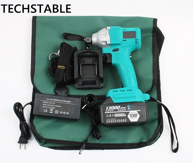TECHSTABLE 13000 mAh 1 batterie au lithium Brushless Sans Fil clé électrique clé à chocs rechargeable bois outils électriques