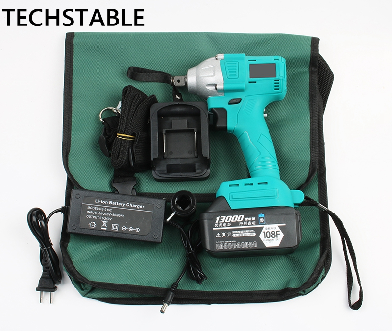 TECHSTABLE 13000 mAh 1 lithium battery Brushless Cordless electric wrench impact wrench rechargeable woodworking electric tools cordless electric wrench 21v lithium battery brushless impact electric wrench 4 0ah industrial grade rechargeable power tools