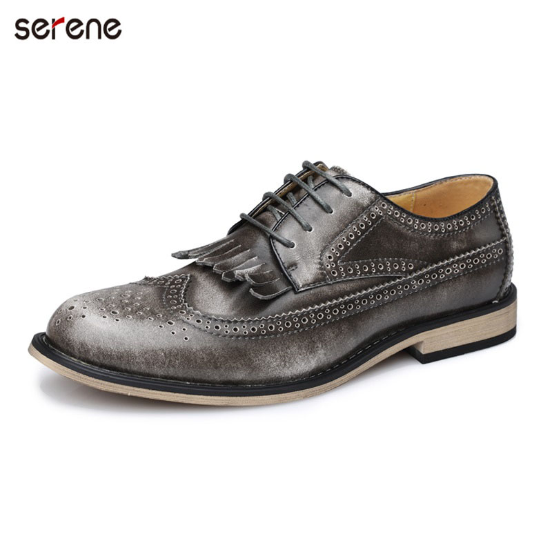 SERENE 2017 New Men Shoes Casual Cow Leather Size 38-43 Lace-up Gray Burgandy Fashion Brogue Glossy Point Toe Men Casual shoes new autumn serene 6280 fashion vintage low top lace up high quality cow leather men s casual shoes