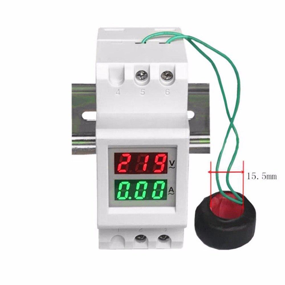 2 P 36mm Rail Din Double LED Tension Courant Mètre Voltmètre Ampèremètre AC 80-300 V 250-450 V 0-100A Testeur Outils