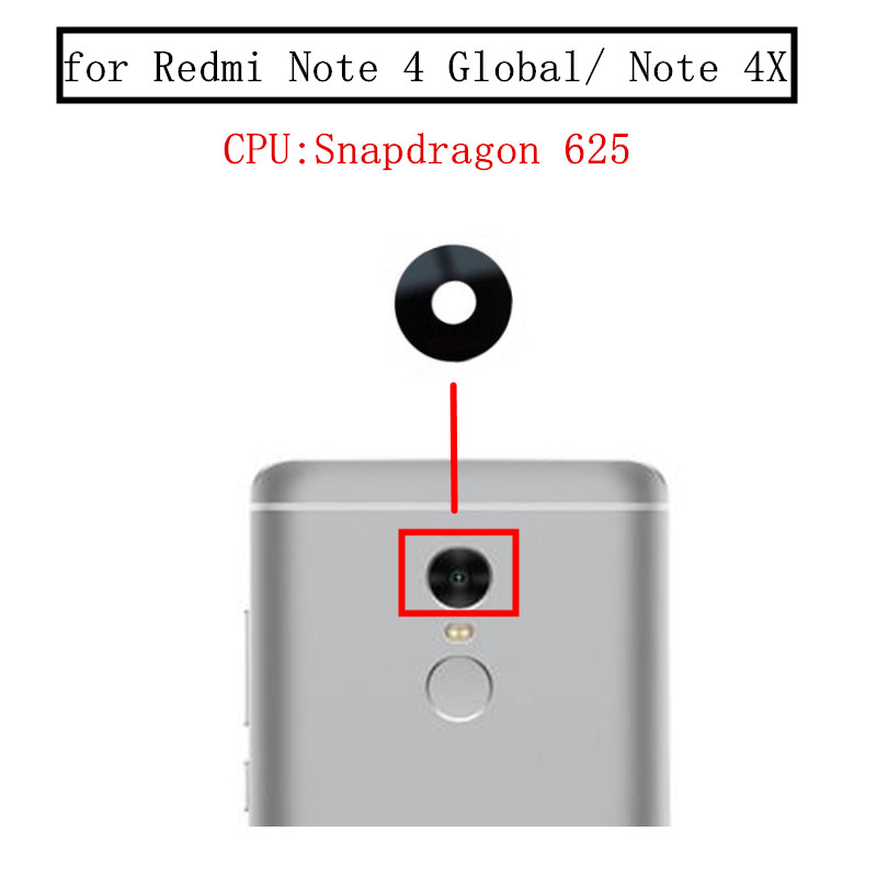 2pcs For Xiaomi Redmi Note 4 Global/Note 4X 3GB Back Rear Camera Glass Lens Main Camera Glass Lens Replacement Repair Spare Part