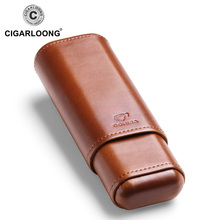 COHIBA cigar case holds 2 cigars portable humidor box travel leather CF-1901