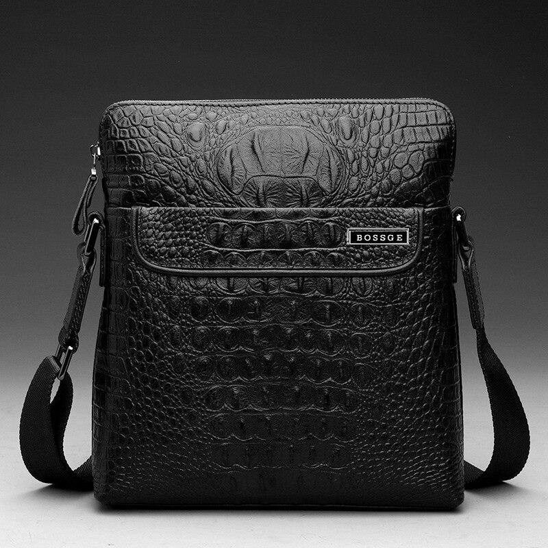 ФОТО BOSSGE 2017 Men's Business Bag Brand Genuine Leather Male Vintage Shoulder Bags Luxury CowLeather Handbag Men Crossbody Bag