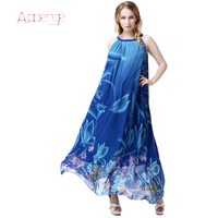 APOENGE 2017 Summer Women Maxi Dress Bohemian Style Female Printing Chiffon Big Dress O Neck Maxi