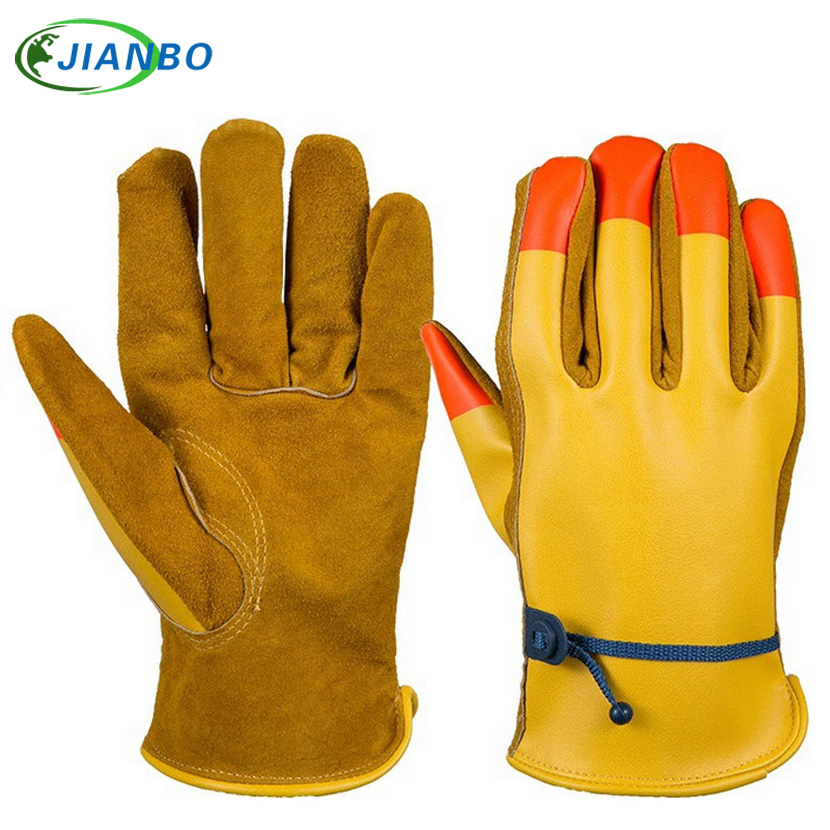 Cowhide Men's Work Driver Gloves Magic rope Leather Security Protection Welding Wear Safety Workers Working Gloves For Men цена 2016