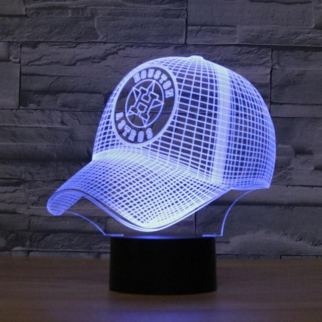 7 Colors MLB Baseball Team Houston Astros Decor Night Light Acrylic Cap Illusion Desk Lamp