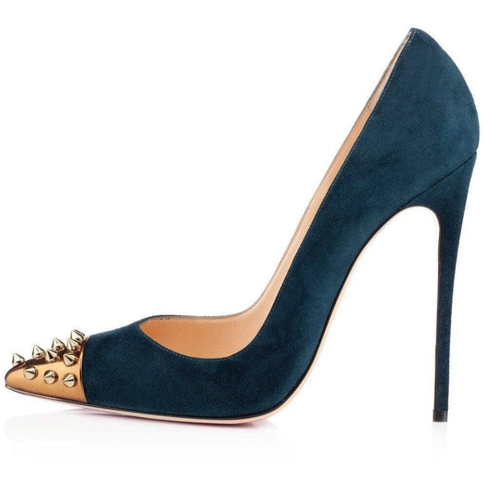 Модные женские пикантные туфли на высоком каблуке 12 см с заклепками и острым носком, черные женские туфли лодочки из флока