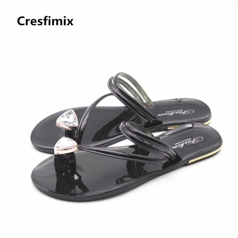 Cresfimix women spring & summer cute slip on flip flops femmes tongs women casual beach flip flops female comfortable sandals cresfimix women cute spring summer slip on flat shoes with pearl female casual street flats lady fashion pointed toe shoes