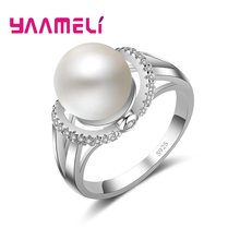 Created Pearl Wedding Rings For Women Jewelry with AAA Cubic Zirconia 925 Silver Crystal Engagement Rings Female Anel(China)