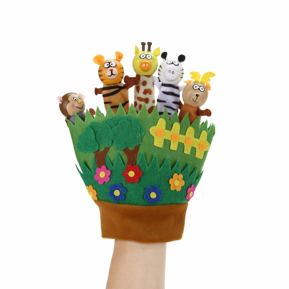 Cute Zoo Animal Hand Puppet Finger Toy Kids Cartoon Dolls Plush Toys Baby Hand Glove Finger Puppets For Children Bedtime Story