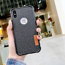 Stylish linen soft silicone shockproof case For iPhone X Xs Max XR Fabric 8 7 Plus 6 6s Phone Fundas